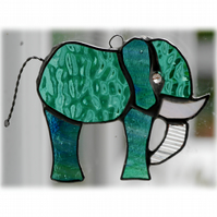Elephant Suncatcher Stained Glass Teal 089