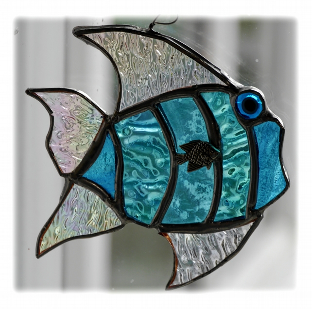 Tropical Fish Suncatcher Stained Glass Handmade Turquoise 027