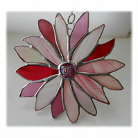 Pink Flower Stained Glass Suncatcher Handmade 002 Cosmos