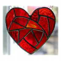 Fat Patchwork Heart Suncatcher Red Stained Glass Handmade