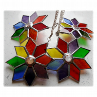 Rainbow Star Stained Glass Suncatcher Tree Decoration 9cm