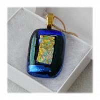 Dichroic Glass Pendant 147 Blue Glitter with gold plated chain