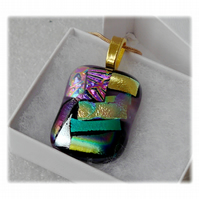 Dichroic Glass Pendant 146 Patchwork Gold with gold plated chain