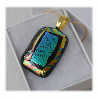 Dichroic Glass Pendant 148  Hieroglyphic Turquoise with gold plated chain