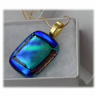 Dichroic Glass Pendant 144 Blue Teal Gold with gold plated chain