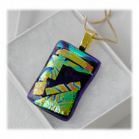 Dichroic Glass Pendant 145 Patchwork Turquoise purple with gold plated chain