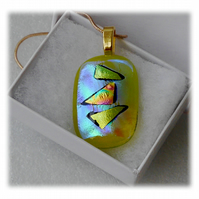Yellow Dichroic Glass Pendant 150 Gold Triangle with gold plated chain