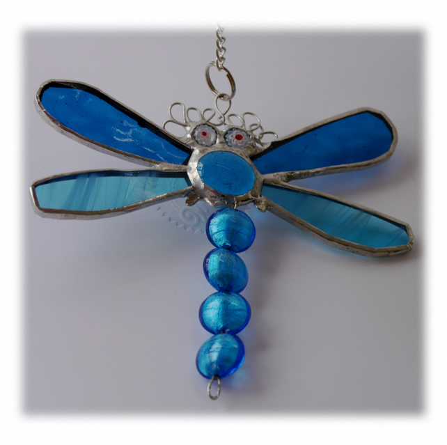 Dragonfly Suncatcher Stained Glass Turquoise Bead-Tailed 031
