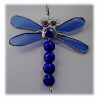 Dragonfly Suncatcher Stained Glass Blue Bead-Tailed 032