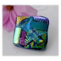 Patchwork Dichroic Glass Brooch 055 Handmade