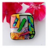 Patchwork Dichroic Glass Brooch 052 Handmade