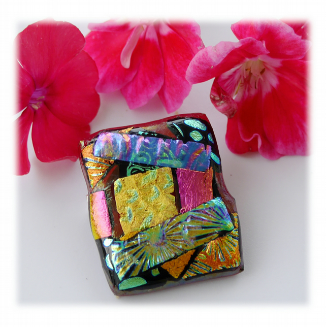 Patchwork Dichroic Glass Brooch 051 Handmade