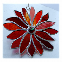 Red Hot Fire Flower Stained Glass Suncatcher Handmade 002