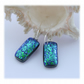 Handmade Fused Dichroic Glass Earrings 244 Emerald Sparkle