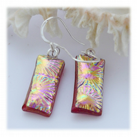 Handmade Fused Dichroic Glass Earrings 245 Pink Florentine