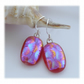 Handmade Fused Dichroic Glass Earrings 249 Raspberry Bubbles
