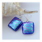 Handmade Fused Dichroic Glass Earrings 250 Teal Plum Squares