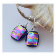 Handmade Fused Dichroic Glass Earrings 251 Cranberry Bubbles