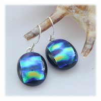 Handmade Fused Dichroic Glass Earrings 252 Emerald Bubbles