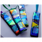 Patchwork Dichroic Treasure  Suncatcher Fused Glass 006 Turquoise Ribbon