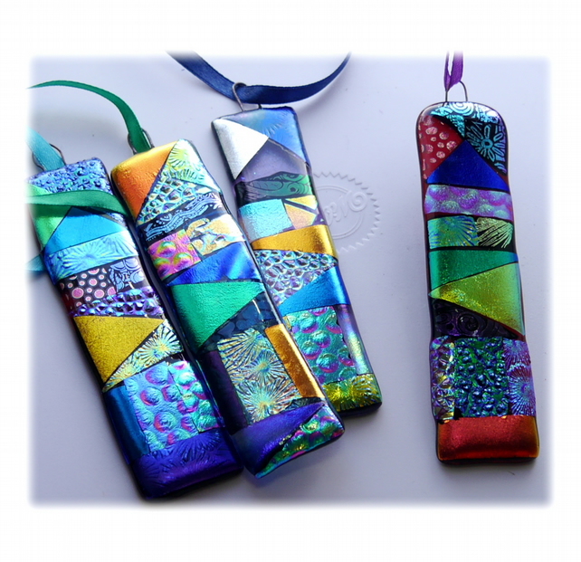 Patchwork Dichroic Treasure  Suncatcher Fused Glass 005 Purple Ribbon