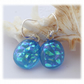 Handmade Fused Dichroic Glass Earrings 253 Turquoise sparkle drops