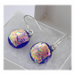 Handmade Fused Dichroic Glass Earrings 254 Florentine blue drops