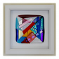 Fused Glass Abstract Dichroic Picture Box Framed 001