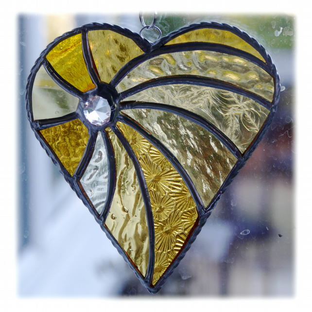 Swirled Heart Stained Glass Suncatcher 005 Golden wedding