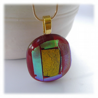 Red Dichroic Glass Pendant 160 Gold Shimmer with gold plated chain