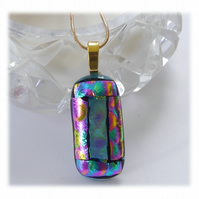 Cranberry Dichroic Glass Pendant 161 Aqua Bubbles with gold plated chain