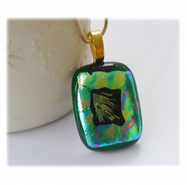 Green Dichroic Glass Pendant 165 Multi Shimmer  with gold plated chain