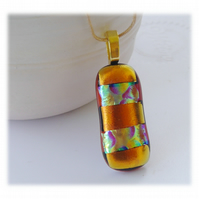 Gold Dichroic Glass Pendant 164 Red Aqua Stripe gold plated chain