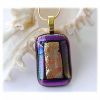 Plum Dichroic Glass Pendant 166 Gold Shimmer  with gold plated chain