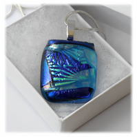 Blue Dichroic Glass Pendant 151  Aqua Florentine with silver plated chain