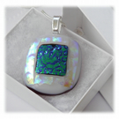 Ivory Dichroic Glass Pendant 154 Emerald Etch with silver plated chain