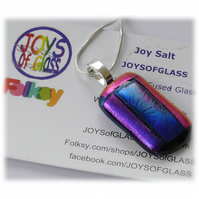 Purple Dichroic Glass Pendant 157 Cranberry Plum with silver plated chain
