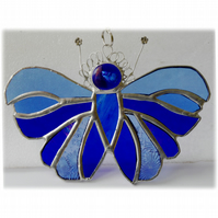 Blue Butterfly Suncatcher Stained Glass Handmade 095