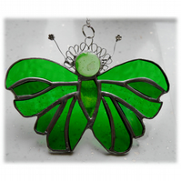 Green Butterfly Suncatcher Stained Glass Handmade 096