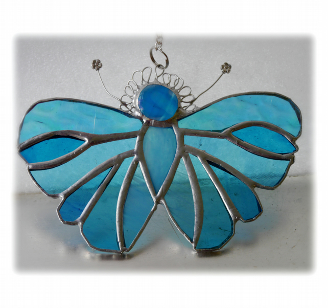 Turquoise Butterfly Suncatcher Stained Glass Handmade 097