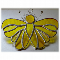 Yellow Butterfly Suncatcher Stained Glass Handmade 098