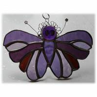 Purple Butterfly Suncatcher Stained Glass Handmade 099