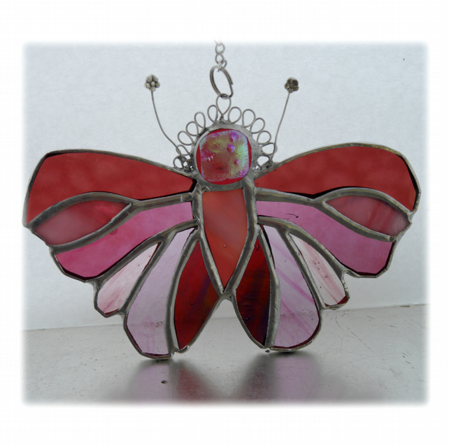 Cranberry Butterfly Suncatcher Stained Glass Handmade 100