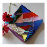 Abstract Dichroic Fused Glass Trinket Dish 002 11cm