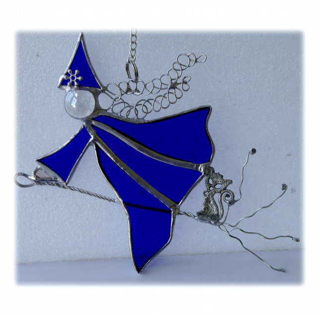 Witch on Broomstick Suncatcher Stained Glass 053 Blue Esmeralda