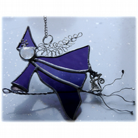Witch on Broomstick Suncatcher Stained Glass 054 Purple Edith