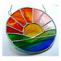 Sunrise Picture Stained Glass Suncatcher Handmade Sun Ring 033