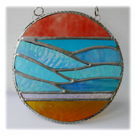 Sea Ring Suncatcher Stained Glass Handmade Beach Seaside Sunset 002