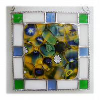 Fused Sunflower Field Tile a Stained Glass Border
