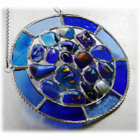 Blue Water Suncatcher Stained Glass Abstract Handmade fused 001